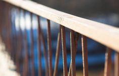 diagonal bridge banister bokeh background
