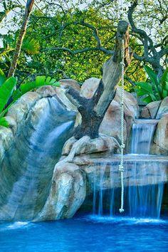 Pool, San Diego, California Waterfall Slide - Tree Swing, Slide pool