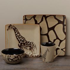@Overstock - This Giraffe 16-piece dinnerware set from Tabletops Unlimited brings a striking brown color and timeless style to your table.
