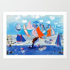 Regatta by Raoul Dufy Art Print by LalaChandra - X-Small Raoul Dufy, Art Prints, Mall, Artist, Artwork, Painting, Products, Art Print, Art Production