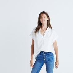 Central Shirt in Pure White : button-up & popover shirts   Madewell