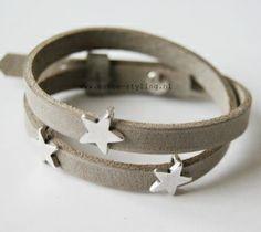 Leren armband country grey