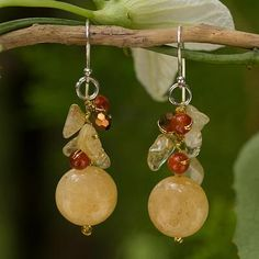 Citrine and carnelian cluster earrings, 'Yellow Rose'. Shop from #UNICEFMarket and help save the lives of children around the world.