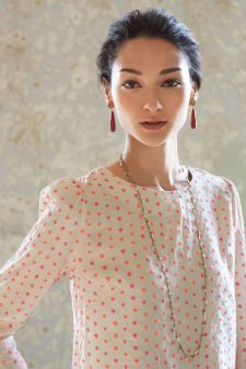 Probably Gamine.  Very crisp shoulders, neckline; rounded neckline; polka dots.  Lumine Dot Blouse