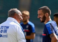 Head coach Italy Gian Piero Ventura (L) and Leonardo Bonucci chat during the…