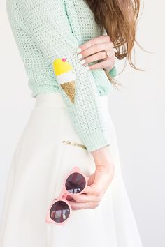 ice cream cone elbow patches - DIY tutorial to update a worn sweater or cardigan