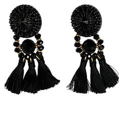 Lovage Handcrafted Black Crystal Resin Tassel Statement Big Drop Dangle Stud Long Boho Earrings for Women -- Want additional info? Click on the image. Note:It is Affiliate Link to Amazon.