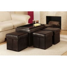 Convenience Concepts Manhattan Storage Bench with 4 Ottomans and Wood Serving Tray - Espresso