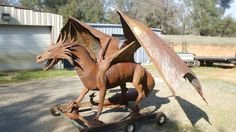 Dragon Sculpture Original Metal Sculpture by RustedFantasyStudio