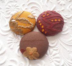 Orange mix 2  3 fabric covered buttons  1 1/2 ♡ by EmbellishedLife2