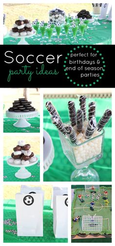 fun soccer party ideas - From birthdays to end of season parties these Soccer Theme Party Ideas will impress all your little soccer fans! Soccer Birthday Parties, Birthday Party Themes, Boy Birthday, Birthday Ideas, Barcelona Soccer Party, Fc Barcelona, Soccer Baby Showers, Theme Sport, Soccer Banquet