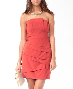 Tiered Strapless Dress | LOVE21 - 2000027977. Brick color.  For some reason they only carry XS in stores