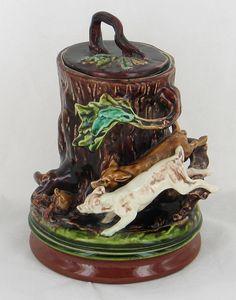 SARREGUEMINES EN BARBOTINE POT A TABAC JE CHASSE LE LIEVRE 1885-1919 ART NOUVEAU | eBay