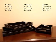 Set of 3 black wooden rectangular trays