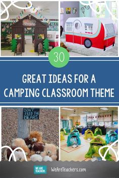 Are you planning a camping theme for your classroom for next year? We've done the research for the perfect camping classroom theme. Preschool Library, Elementary Classroom Themes, Sunday School Classroom, Preschool Classroom, Classroom Decor, Classroom Setting, Pre School, Bears Preschool, Preschool Activities