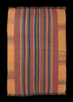 Africa | Edepka. Woman's Marriage Shawl. Nupe people. Bida, Nigeria | First half 20th century | Cotton, silk, dyed with natural and aniline dyes  Warp and weft striping with supplementary weft patterns: