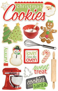 Paper House Productions - Christmas - 3 Dimensional Cardstock Stickers with Foil and Glitter Accents - Christmas Cookies  $3.99