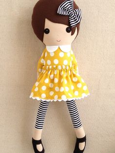 Fabric Doll Rag Doll Black Haired Girl in Blue and by rovingovine