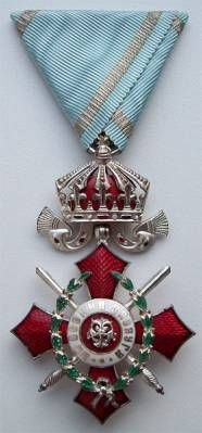 The OMSA Medal Database - Medal of Military Merit 5th Cl with Crown & Swords on War Ribbon - OMSA