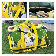 Sac weekend Boston vert et jaune cousu par Liceroy - Patron Sacôtin