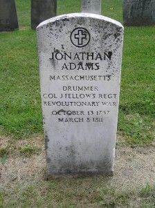 Jonathan Adams drummer boy Continental Army. Cemetery located East Bloomfield, NY http://nexuspercussion.com/2011/09/revolutionary-drummer-boys/