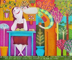 A kiss, a plant, a book: is spring / Un beso, una planta, un libro: es primavera (ilustración de Leandro Lamas)