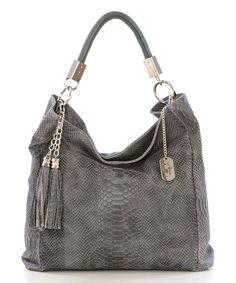 22b4364b27cf Anna Morellini Gray Snakeskin-Embossed Leather Hobo