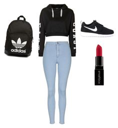 """""""Can't be beat"""" by lmabraham on Polyvore featuring Topshop, NIKE, Smashbox and adidas Originals"""