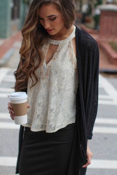 We love the feminine look of this lace tank! The Place For Lace Top