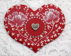 Hand Painted Red MUD Floral Heart Cookie with Rhinestones and Metal Heart 33