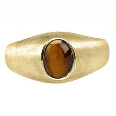 Yellow Gold Pinky Ring For Men Oval-Cut Tiger Eye Gemstone by gemologica on Etsy