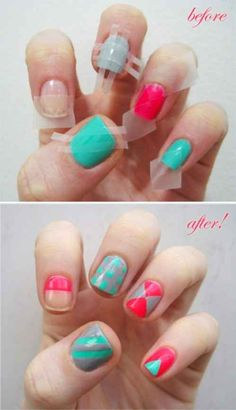 Use tape to create geometric nails. This works best on nail polish that's already been dry for one day. If you want to make it even more foolproof, usenail masking tape instead