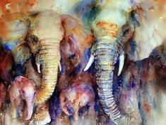 Elephant Family, Elephant Love, Elephant Art, African Elephant, Watercolor Animals, Watercolor Art, Image Elephant, Art Original, Wildlife Art