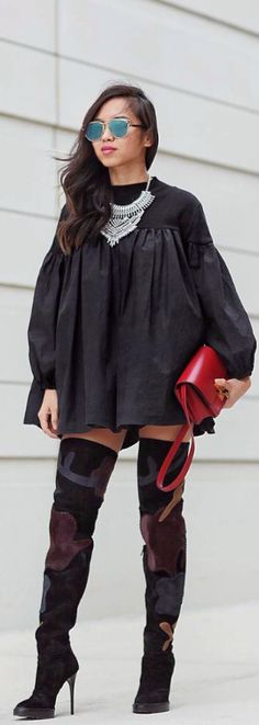 Shirt Dress + OTK Boots // Fashion Look by That Girl Gick