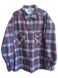 Vintage Pendleton by Woolen Mills pure virgin wool Size XL blue burgundy white plaid checkered flannel button up collared mens womens by VELVETMETALVINTAGE on Etsy