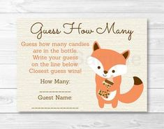 """Details about Woodland Fox Gender Neutral Printable Baby Shower """"Guess How Many?"""" Game Cards Woodland Fox Gender Neutral Printable Baby Shower """"Guess How Many? Otoño Baby Shower, Shower Bebe, Shower Party, Baby Shower Games, Baby Shower Parties, Fox Baby Showers, Baby Shower Fall Theme, Baby Shower Guessing Game, Shower Favors"""