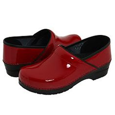 Sanita Professional Red Patent Leather Clogs