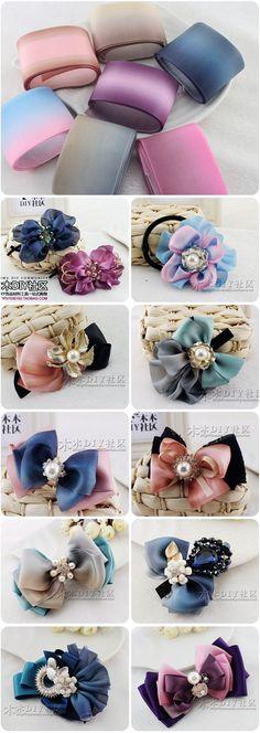 【木木DIY社区】丝带 布带类 3.8厘米宽韩国进口渐变渲染光面纱带