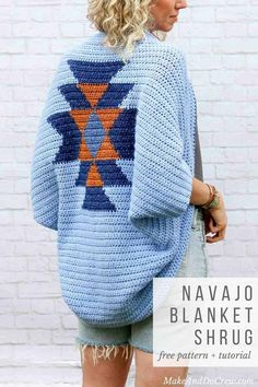 While this free crochet shrug pattern resembles the look of tapestry crochet, its Navajo-blanket-inspired design is actually made by switching colors mid-row using basic crochet techniques! Get the fr #shrugs