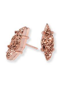 Brook Stud Earrings In Rose Gold Drusy - Kendra Scott Jewelry.