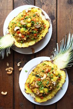 This delicious Thai Pineapple Fried Rice is baked inside a pineapple for a tropical twist. This vegetarian meal can be served with a protein of choice.
