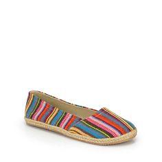 Tribal Stripes Canvas Slipper Flats Multi-Colors