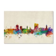 Cardiff Wales Skyline by Michael Tompsett Graphic Art Gallery Wrapped on Canvas