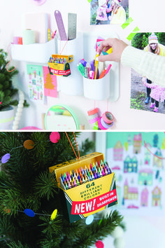 The colorful Crayola® crayons from Hallmark Keepsake Ornaments reminded blogger Chloé of the beautiful Victorian houses in San Francisco, where she lives. So she created her own paper Christmas village using the colors inspired by the ornament.