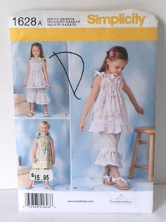 Simplicity 1628 Sewing Pattern Party Portrait Dress Top Bloomers Girls 2 3 4 5 6 7 8 New Uncut