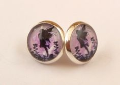 Round stud earrings in silver with silhouettes fairy in pink black | Jewelry-treasure-chest - Jewelry on ArtFire