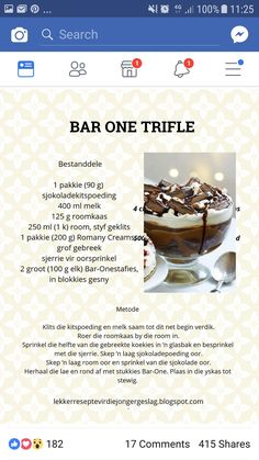 Bar one trifle Cold Desserts, Easy Desserts, Delicious Desserts, Yummy Food, Tart Recipes, Sweet Recipes, Kos, Sweet Tarts, No Bake Treats