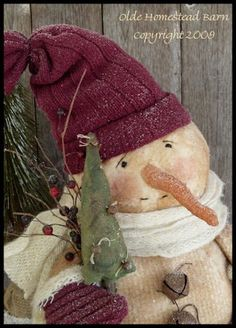 Prim Snowman Sitter EPattern  ET by oldehomesteadbarn