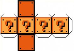 Question block gift boxes to print and fold! Super Mario Bros Party Ideas and Freebies