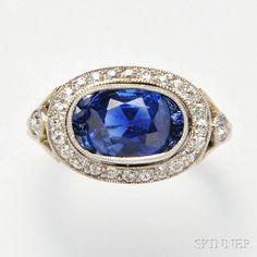 Art Deco Platinum, Kashmir Sapphire, and Diamond Ring. | Auction 2883B | Lot 563 | Sold for $61,500